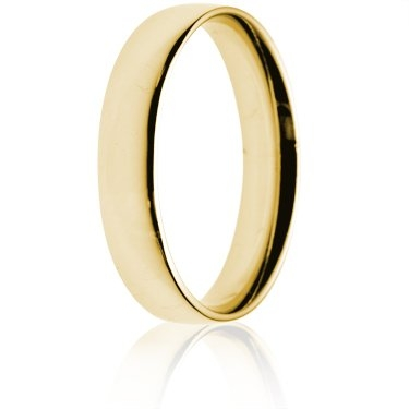 4mm Light Weight Gold Court Wedding Ring