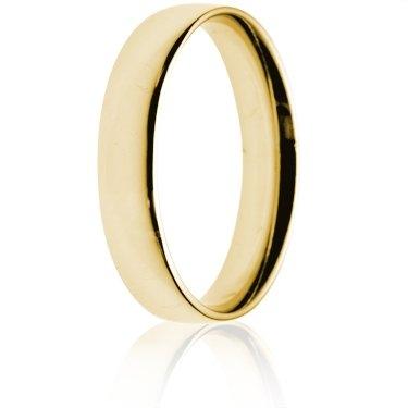 4mm Light Weight Gold Court Wedding Ring