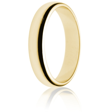 4mm Light Weight Gold D-Shape Wedding Ring