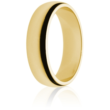 6mm Medium Weight Gold D-Shape Wedding Ring