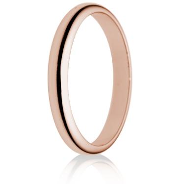 2.5mm Light Weight Rose Gold D-Shape Wedding Ring