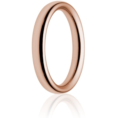 3mm Heavy Weight Rose Gold Court Wedding Ring