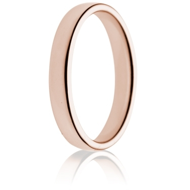 3mm Light Weight Rose Gold Double Comfort Wedding Ring