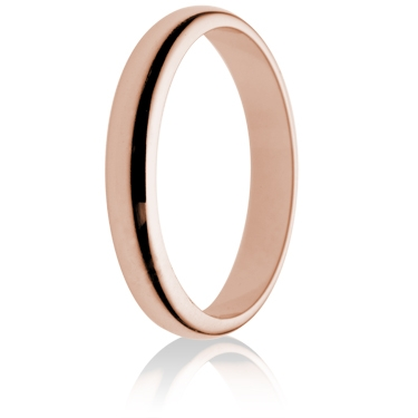 3mm Light Weight Rose Gold D-Shape Wedding Ring