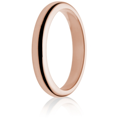 3mm Medium Weight Rose Gold D-Shape Wedding Ring