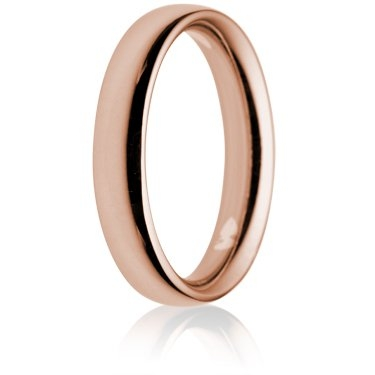 4mm Heavy Weight Rose Gold Court Wedding Ring
