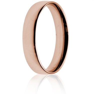 4mm Light Weight Rose Gold Court Wedding Ring