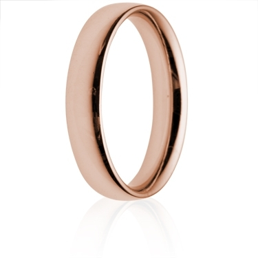 4mm Medium Weight Rose Gold Court Wedding Ring