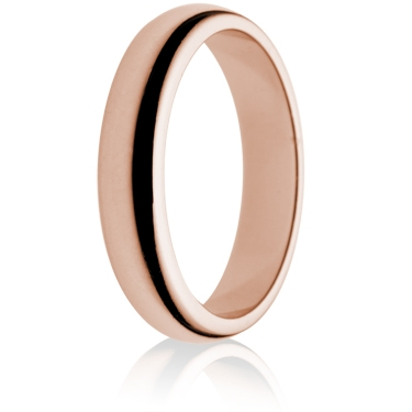 4mm Medium Weight Rose Gold D-Shape Wedding Ring