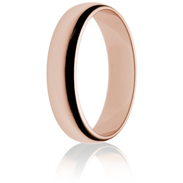5mm Light Weight Rose Gold D-Shape Wedding Ring