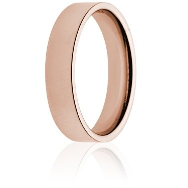 5mm Light Weight Rose Gold Flat Court Wedding Ring