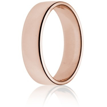 6mm Light Weight Rose Gold Double Comfort Wedding Ring