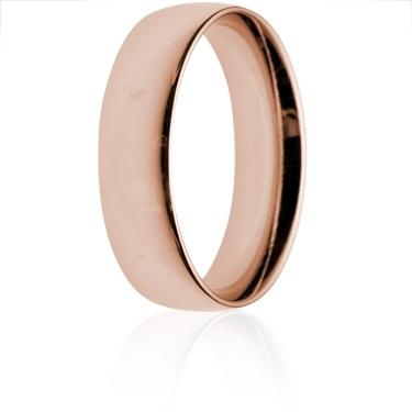 6mm Medium Weight Rose Gold Court Wedding Ring