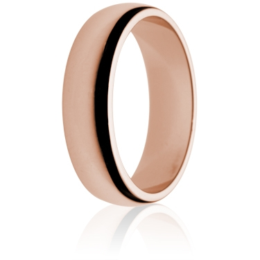 6mm Medium Weight Rose Gold D-Shape Wedding Ring