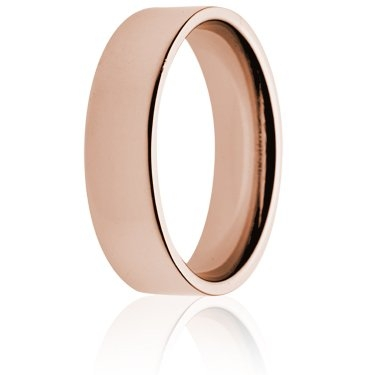6mm Medium Weight Rose Gold Flat Court Wedding Ring