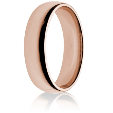 6mm Medium Weight Rose Gold Flat Sided Court Wedding Ring