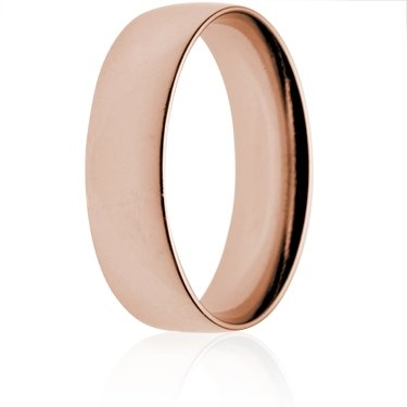 7mm Light Weight Rose Gold Court Wedding Ring