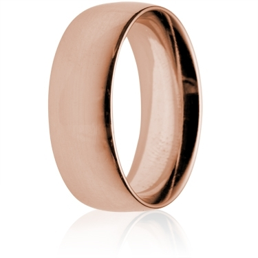 8mm Heavy Weight Rose Gold Court Wedding Ring