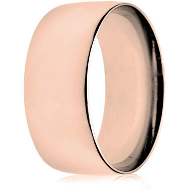 10mm Light Weight Rose Gold Court Wedding Ring