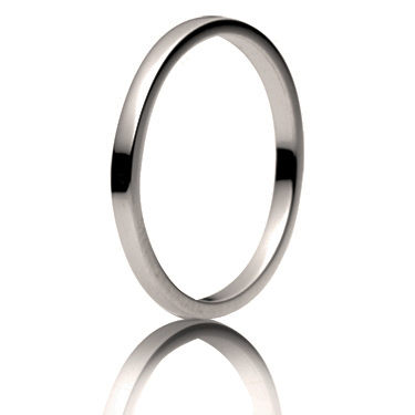 2.5mm Medium Weight Flat Wedding Ring