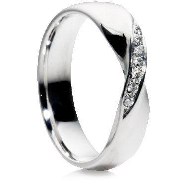 Diamond Set Crossover Wedding Ring