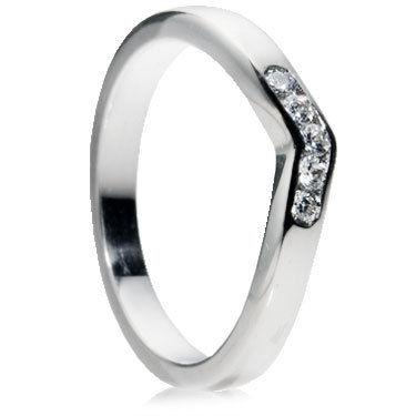 Diamond Set Wishbone Wedding Ring