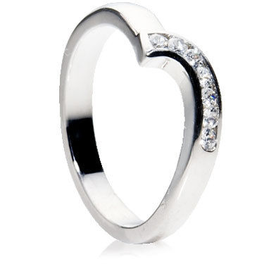 Shaped Channel Set Wedding Ring