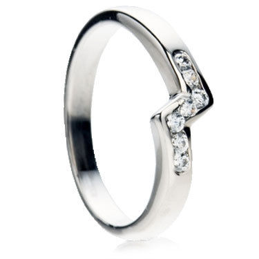 Diamond Set Wedding Ring in a Z-Shape