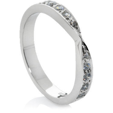 Diamond Set Crossover Wedding Ring