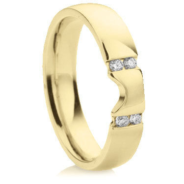 Shaped Wedding Ring with Brilliant Cut Diamonds