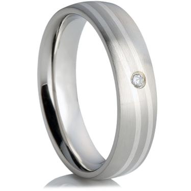 Cubic Zirconia Steel Wedding Ring