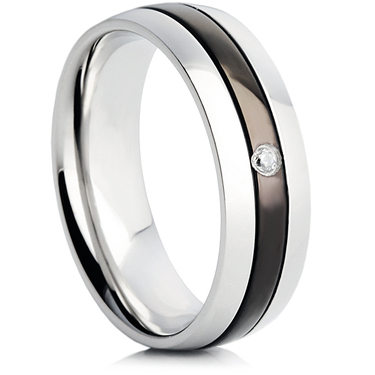 Steel Wedding Ring with IP Plating and Cubic Zirconia