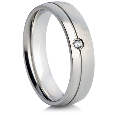 Steel Wedding Ring with a Cubic Zirconia