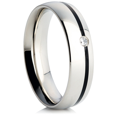 Steel Wedding Ring with Black Enamel and a Cubic Zirconia