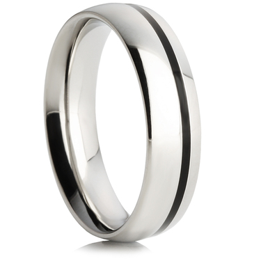 Steel Wedding Ring with Black Enamel