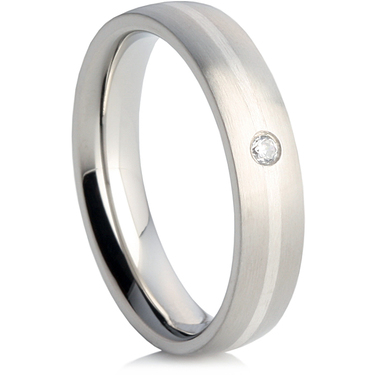 Steel Wedding Ring with a Silver Inlay and a Cubic Zirconia