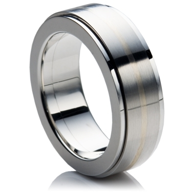 Spinning Steel Ring with Silver Inlay