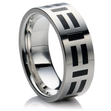 Steel Wedding Ring with Black Enamel Design