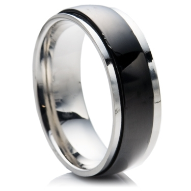 Steel Wedding Ring with Matt Finish Spinning Centre