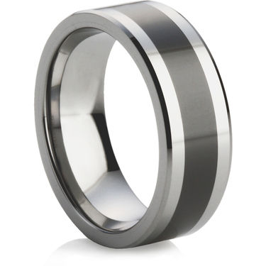 Tungsten Carbide Ring with Ceramic Inlay