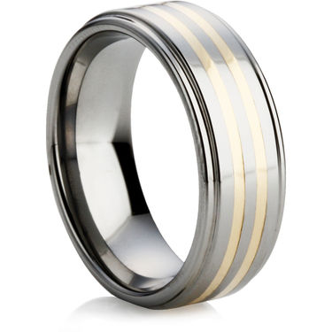 Tungsten Carbide Wedding Ring with a Gold Inlays