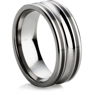 Tungsten Ring with Black Ceramic