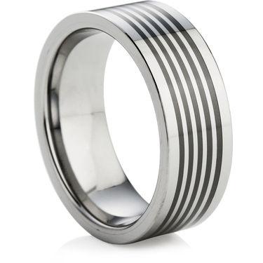Tungsten Ring with Black Ceramic Inlays
