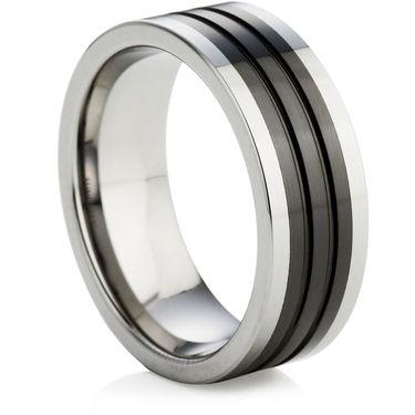 Tungsten Carbide Ring with Black Ceramic