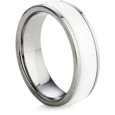 Tungsten Carbide Ring with a White Ceramic Inlay