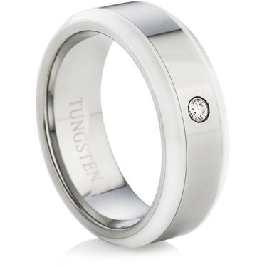 Tungsten Carbide Ring with White Ceramic and a Cubic Zirconia