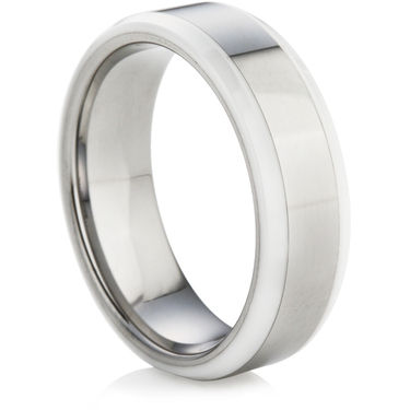 Tungsten Carbide Wedding Ring with White Ceramic
