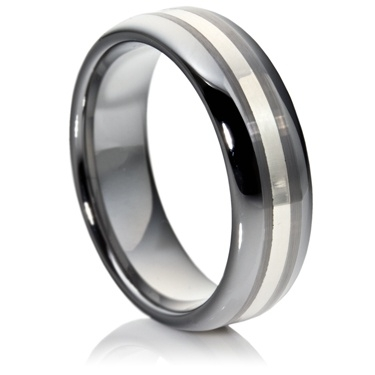 Double Comfort Tungsten Carbide Ring with Silver Inlay