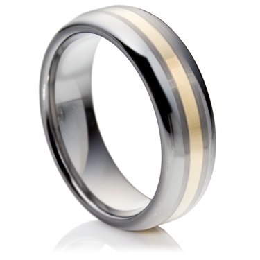 Court Tungsten Carbide Ring with 14ct Gold Inlay