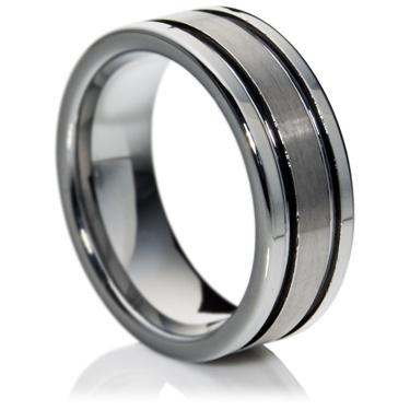 Flat Court Tungsten Carbide Ring with Matt Finish